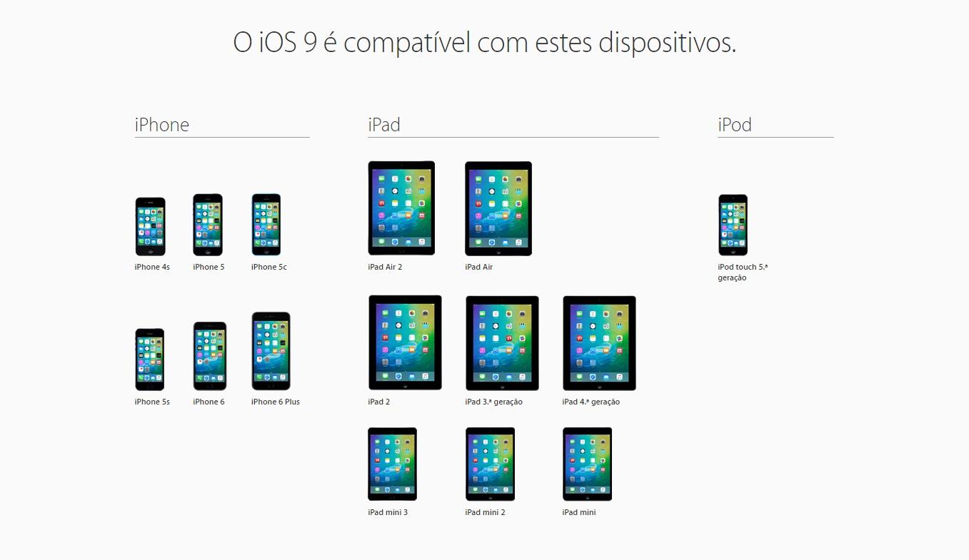 iOS 9 dispositivos compativeis