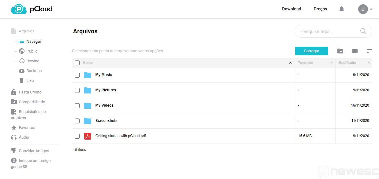 Review pCloud Navegação entre ficheiros