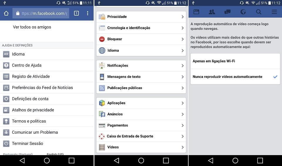 android browser desativar o autoplay facebook