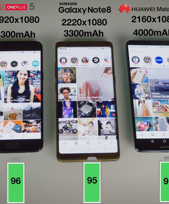 comparacao baterias mate 10 pro iphone 8 note 8 oneplus 5