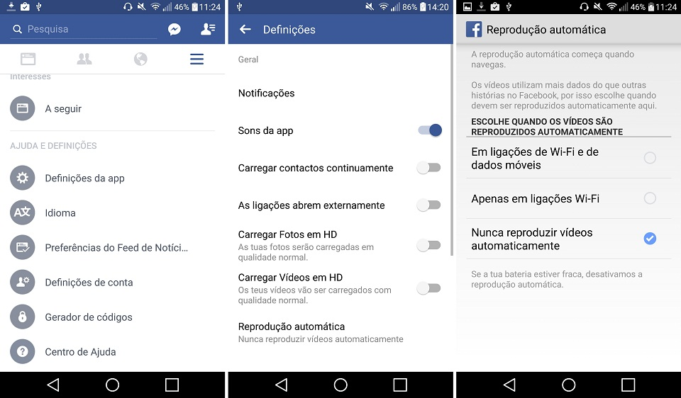 android desativar o autoplay facebook app