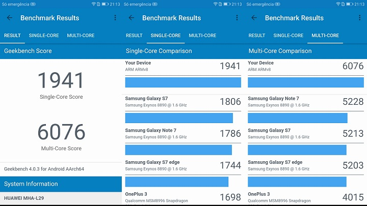 analise ao mate 9 geekbench huawei